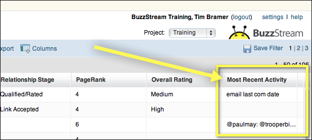 BuzzStream Link Building Prospecting Select Column to Drag and Drop
